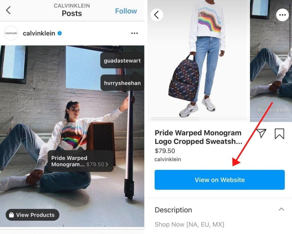 screenshot taken from the official Calvin Klein website