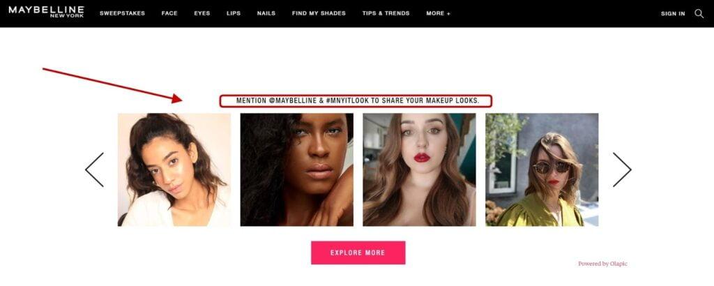 screenshot for the maybeline website